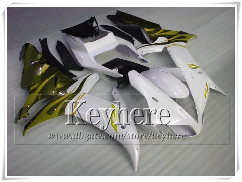 Popular YZFR1 2002 2003 amarillo blanco negro ABS plástico YAMAHA carenado kit YZF R1 02 YZF-R1 03 piezas de la motocicleta de carreras con 7 regalos tp65