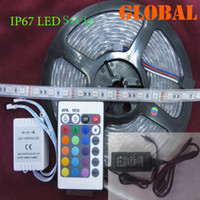 Wholesale 24 Dc Power Supply - Cheap Outdoor waterproof LED Strip 5m 300LED IP67 Tube RGB 5050 light With 24 keys IR Controller With 12V 5A power supply via DHL FedEx