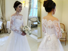 Wholesale Off White Bridal Veils - Vintage Full Lace Wedding Dresses Crystals Beads Long Sleeves Off Shoulders Sweep Train Bridal Wedding Gowns With Long Veils Custom Made
