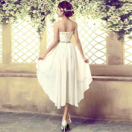 Charming Sweetheart Hi-Lo Chiffon Bruidsmeisjes Jurken A-Lijn Pkleats Korte Prom Jurken Bruiloft Jurk