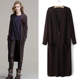 Wholesale Western Winter Coats Women - Fashion women long coat new western coat knit wear long sleeve double pockets coat autumn and winter coat ladies coats cardigan SX21