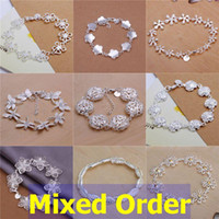 """Wholesale Wholesale Country Floral - Mixed Order 20pcs lot 8"""" 925 Sterling Silver Plated Fashion Floral Country Style Flower Butterfly Insect Charms Tennis Bracelets #BC110"""