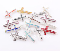 Wholesale Cross Crystal Connector - 2013 NEW Rhinestone Sideways Cross Connector Crystal Curved Connectors Fit for DIY Bracelet Jewelry Findings ZBE003