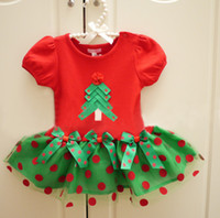 Wholesale Christmas Tree Tutu Dress - Free Shipping Christmas Baby Girls Short-sleeved Polka Dot One-Piece Dress Xmas Tree Bowknot Infant Toddler Ball Gown Children's Tutu Dress