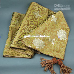 Wholesale Damask Runners - Luxury 120 inch Brown Damask Fabric Table Runners Extra Long Party Tablecloths Runner Decorative Bed Runners L300xW35 cm 1pcs Free