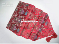 Wholesale Beds Ideas - Extra Long Red Table Runners 108 inches Damask Tablecloth Coffee Table Runner High quality Bed Runner Decorative Ideas 1pcs Many color Free