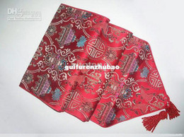 Wholesale Damask Runners - Extra Long Red Table Runners 108 inches Damask Tablecloth Coffee Table Runner High quality Bed Runner Decorative Ideas 1pcs Many color Free