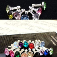 Wholesale Diamond Headphone Dust Plug Cap - Diamond Headphone anti Dust plug dust Cap for 3.5mm plug phone