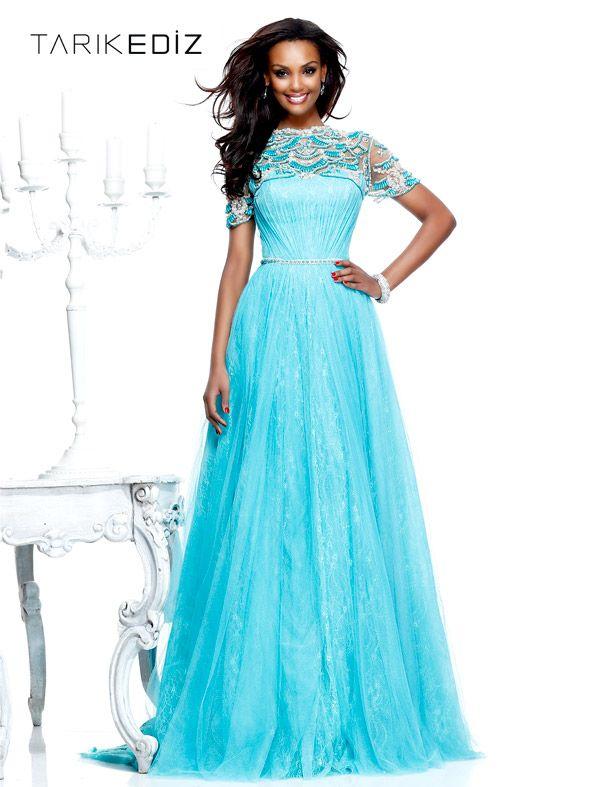Short Sleve Blue Floor Length Dress
