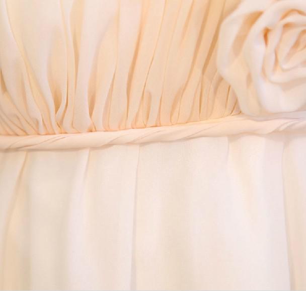 Een-schouder a-line chiffon mini bruidsmeisje jurken korte handgemaakte bloem feestjurk