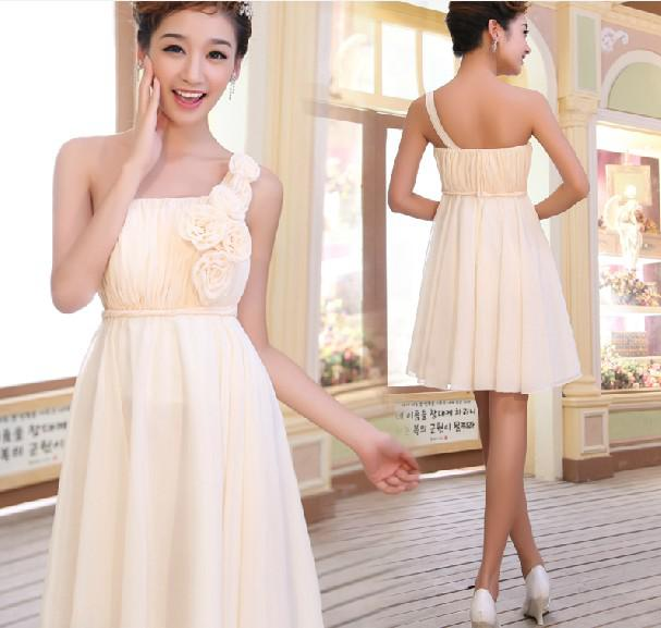 e4b523ef81b One Shoulder A Line Chiffon Mini Bridesmaid Dresses 2013 Short Hand Made  Flower Party Gown Taupe Bridesmaid Dresses Wedding Bridesmaid Dresses From  Love_you ...