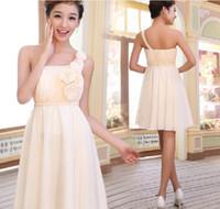 imparatorluk bir omuz önlüğü toptan satış-Sıcak Stil Klasik Bir Omuz İmparatorluğu A-line Nedime Elbisesi kısa Akşam Elbise