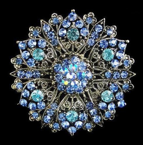 Silver Plated Large Size Alloy and Blue Rhinestone Crystal Vintage Brooch
