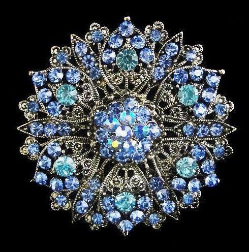 Verzilverd grote grootte-legering en blauwe strass-kristal vintage broche