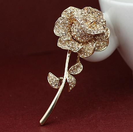 Elegant Clear Rhinestone Crystal Rose Flower Shiny Crystal Rhinestones Broche Pin Corsage