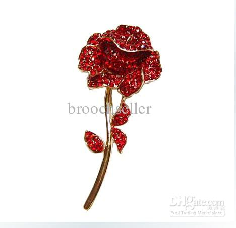 Sparkly-Vergulde Rode Rhinestone Crystal Diamante Rose Flower Bridal Broche Pin