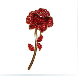 Wholesale Crystal Rhinestone Rose Flower Brooches - Sparkly-Gold Plated Red Rhinestone Crystal Diamante Rose Flower Bridal Brooch pin