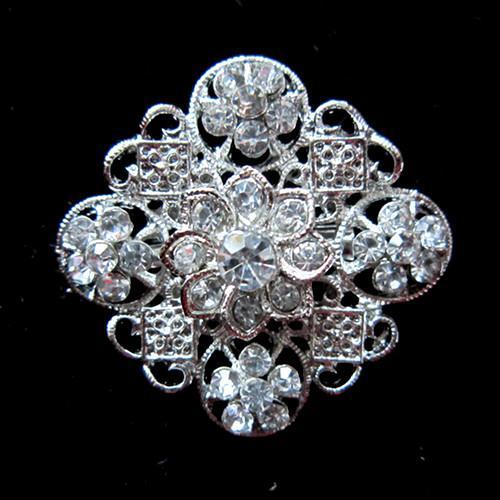 Verzilverd legering en strass Crystal Metal Pin Flower Broche