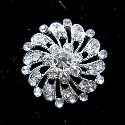 Runde Blume klar Crystal Silber Base Custome Brosche