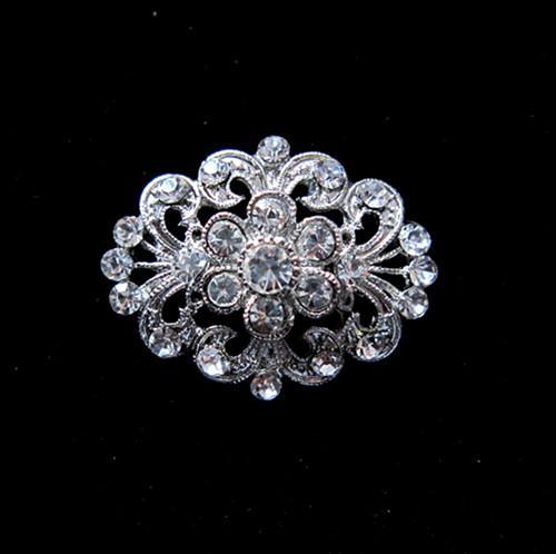 Hübsche Blume klar Kristall Strass Silber Ton Pin Brosche