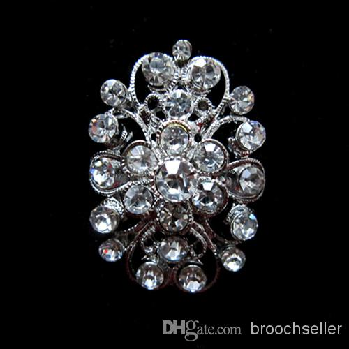 Rhodium Silber Base Clear Strass Kristall Blume Pin Brosche für Hochzeitseinladung