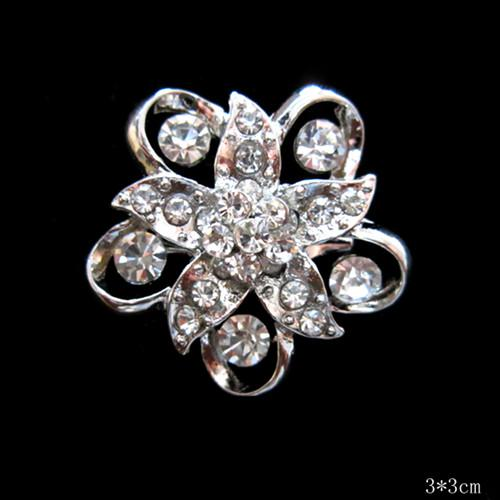 Sparkly Silver Crystal Flower Small Pins ND Broches