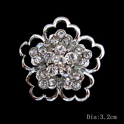 Brillantes alfileres de plata flor pequeña broches