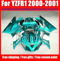 ingrosso kit corporeo yamaha r1-Kit corpo carenatura ABS bianco blu di alta qualità per YZFR1 2000 2001 YAMAHA YZF R1 00 01 YZF-R1 corpo carrozzeria con 7 regali gy40