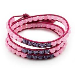 Wholesale Handmade Stretch Bracelets - Pink turquoise natural stone beaded bracelets handmade jewelry mix color weaving stretch 3 strands wrap leather bracelet FG3023