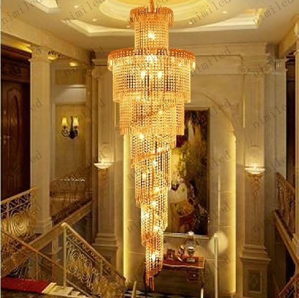 Nimi32 Luces de Escalera Modernas K9 Crystal Ball Lámpara de Araña de Larga Duración Lámpara de Iluminación Duplex Escalera Villa Sala de estar Hotel Store