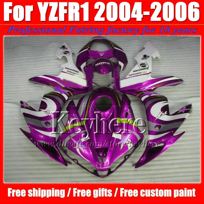 Kit de carenagem da motocicleta para YZF R1 04 05 06 YAMAHA 2004 2005 2006 YZFR1 YZF-R1 ABS corpo branco roxo carenagens com 7 presentes Gf65
