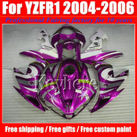 Wholesale Body Kit Yamaha R1 Purple - Motorcycle fairing kit for YZF R1 04 05 06 YAMAHA 2004 2005 2006 YZFR1 YZF-R1 ABS white purple fairings body work with 7 gifts Gf65