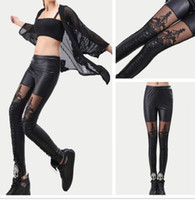 Leder Sexy Hose Frauen Gothic Kaufen -FashionSexy Gothic Punk Lace Street Style Frauen Casual Faux Leder Leggings Skinny Strumpfhosen Stretch Hosen Slim Thin Hose Füße