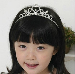 Wholesale Headbands Silver Wholesale - Children 3-12 years old princess hair accessories Baby Girl Rhionestone Hairpins Combs Crown Hairbands Headdress Style Princess Tiara Gifts