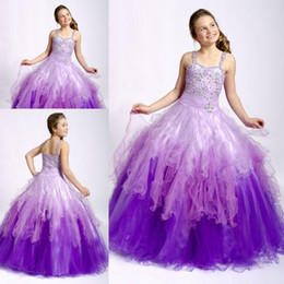 Wholesale Multi Color Beaded Pageant Dresses - Cute purple kids children puffy tank spaghetti strap crystal beaded multi little girl's pageant dresses ZFD-049