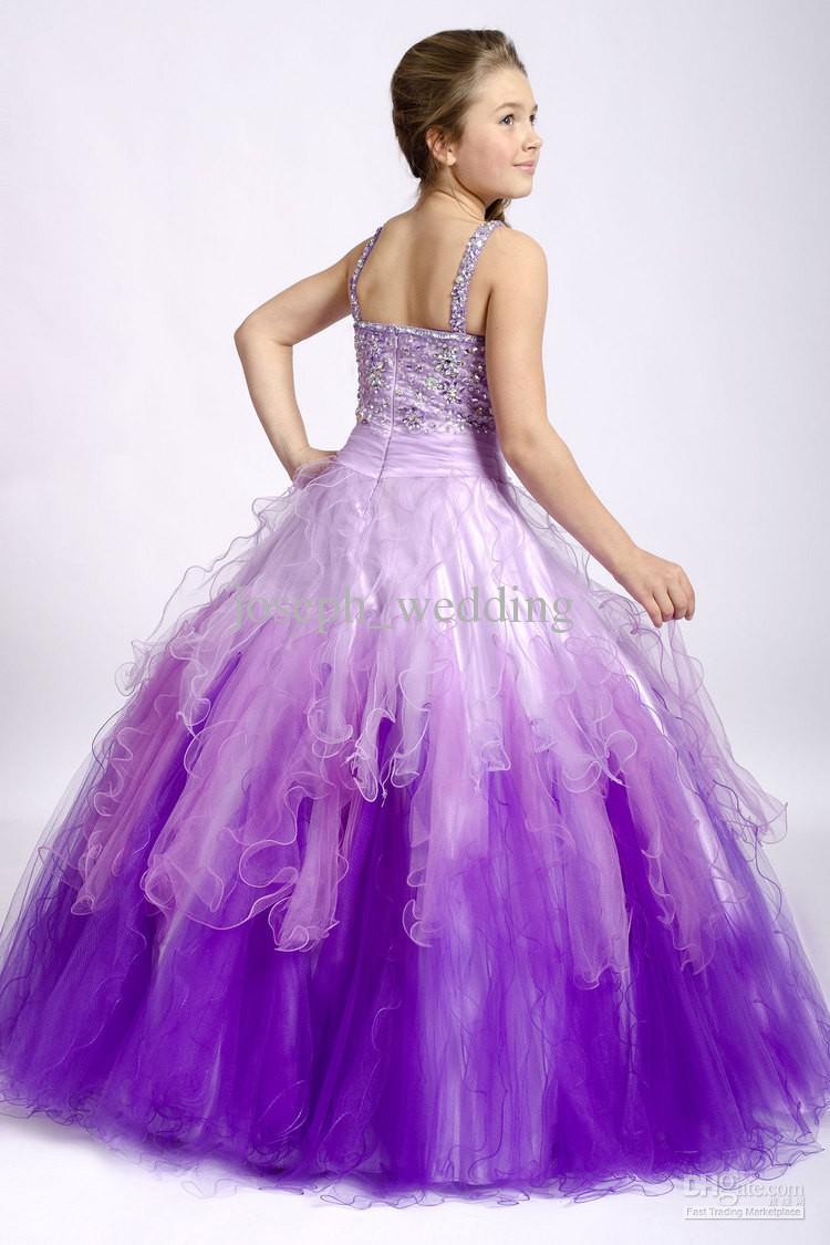 Linda púrpura niños niños puffy tanque correa de espagueti con cuentas de cristal vestidos de desfile de varias niñas ZFD-049