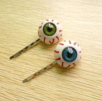 Wholesale Eyeball Clip - Korean girls fashion little demon of blue and green eyeball hairpin side-knotted clip punk hair accessories #5609