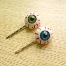 Wholesale little korean girls - Korean girls fashion little demon of blue and green eyeball hairpin side-knotted clip punk hair accessories #5609