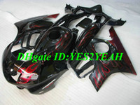 Wholesale 1998 honda f3 plastics resale online - Motorcycle Fairing kit for Honda CBR600F3 CBR600 F3 ABS Plastic Red flames black Fairings set Gifts HQ15