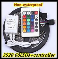 3528 rgb uzaktan toptan satış-Sıcak Satış RGB / Beyaz / sıcak beyaz / Bule / Sarı / Kırmızı / Yeşil 3528 300 leds olmayan su geçirmez LED şerit ışık 5 m / rulo + 24 Tuşları IR Uzaktan