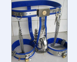Wholesale New Type Chastity - New Male Fully Adjustable T-type stainless steel chastity belt + Bra + anal plug + catheter + Thigh Cuff SM PRODUCTS