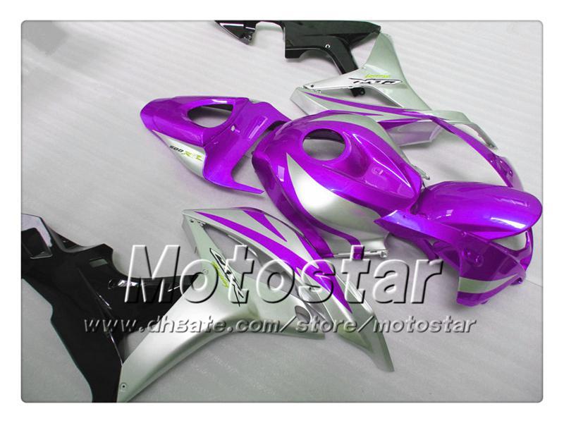 Spuitgietverbarsting Set voor Honda CBR600RR 2007 2008 CBR 600 07 08 CBR600 Glanzend Donker Paars Silver Fairing Body Kit SR105