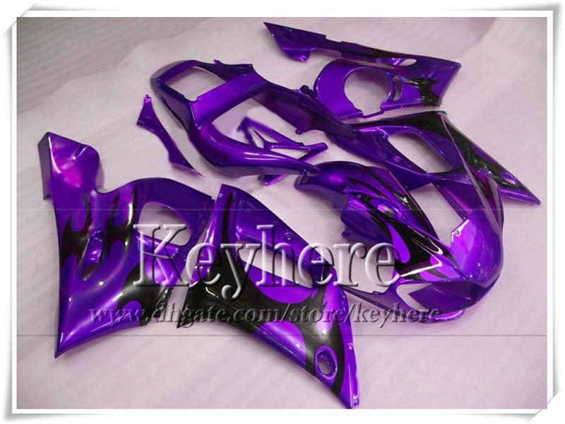 SCHLUSSVERKAUF! ABS-Kunststoff lila schwarz Bodykits YZF-R6 1998 1999 2000 2001 2002 Verkleidungen für Yamaha YZF R6 98-02 mit 7 Geschenke Ry72