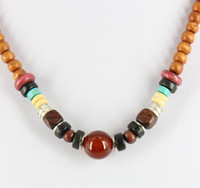 Wholesale Wooden Beads For Necklaces - J0027 hot sale high quality fashion handmade beaded necklaces for man and woman with wooden beads