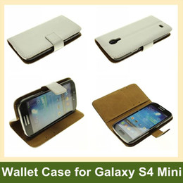 Wholesale Galaxy S4 Cover Genuine - Wholesale Colorful Genuine Leather Wallet Case for Galaxy S4 Mini i9190 Flip Cover Case for Samsung Galaxy S4 Mini i9190 Free Ship