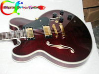 Wholesale Hollow Body Oem - Custom Classic Hollow Jazz Guitar 335 Electric Guitar IN brown OEM Available free shipping