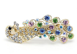 Wholesale Wholesale Diamond Barrette - 2017 hot selling hair jewelry peacock big hairpin vintage elegant hair accessory rhinestone hairpin clip multicolour 5 colors