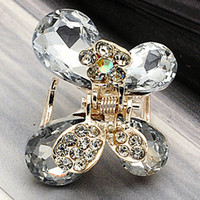 Wholesale Small Hair Clamps - 2013 fashion accessories accessories rhinestone small hair claw crystal butterfly gripper paw hair accessory hair accessory