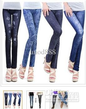 Gratis verzending jeans look 7 patronen Sexy leggings / slanke pasvorm verkopen tegen lage prijs, maar hoge kwaliteit