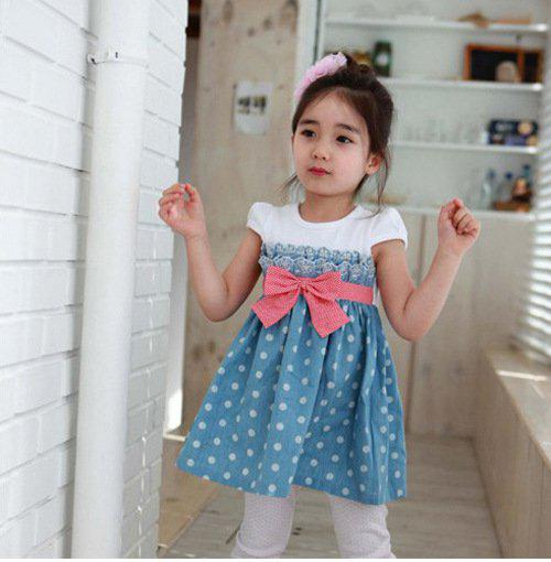 best selling 5pc lot girls christmas dress Short Sleeved Girls Dot Dresses & bow belts children clothing toddler clothing Korean girls dresses 5size,1-8T